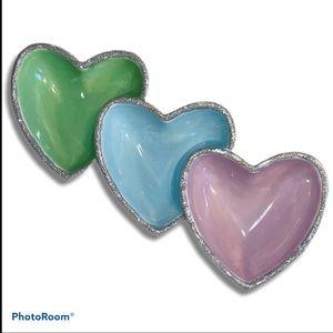 Hand painted glitter purple green blue heart dish